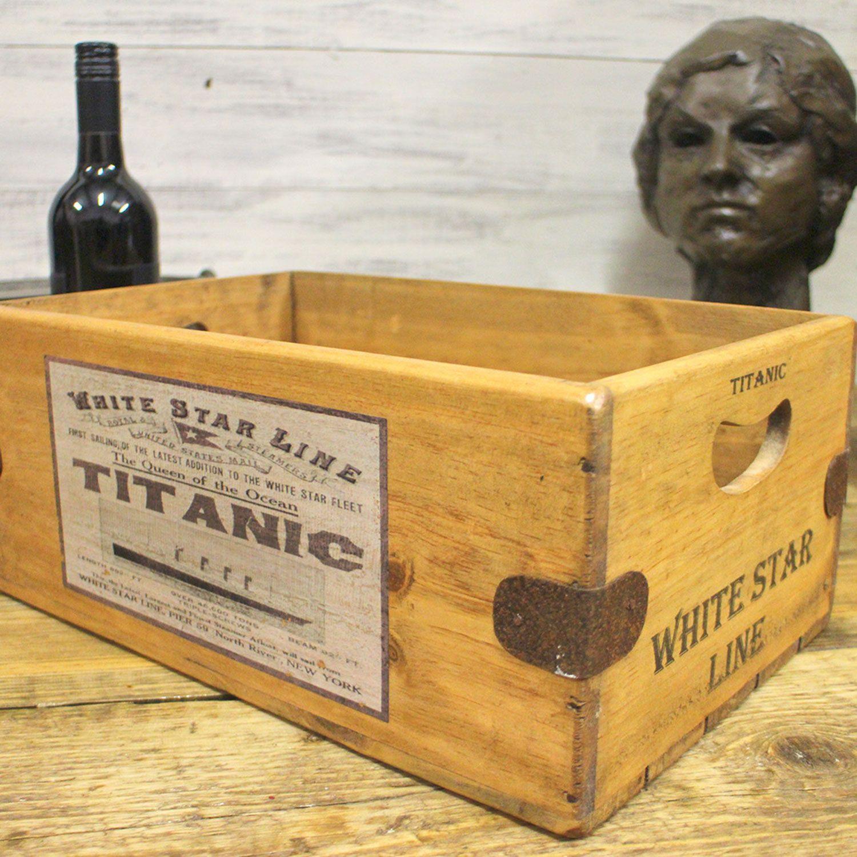 Titanic White Vintage Box Star Line Wooden Storage Crate